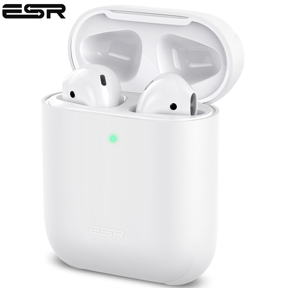 ESR Ultra Thin Skin Case For AirPods Charging Case Slim Fit Silicone Cover For AirPods 2 Visible Front LED Shockproof Case