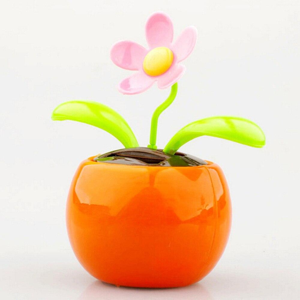 e1cb2659aaab42 New Plastic Crafts Home Car Flowerpot Solar Power Flip Flap Flower Plant  Swing Auto Dance Toy Colors Random