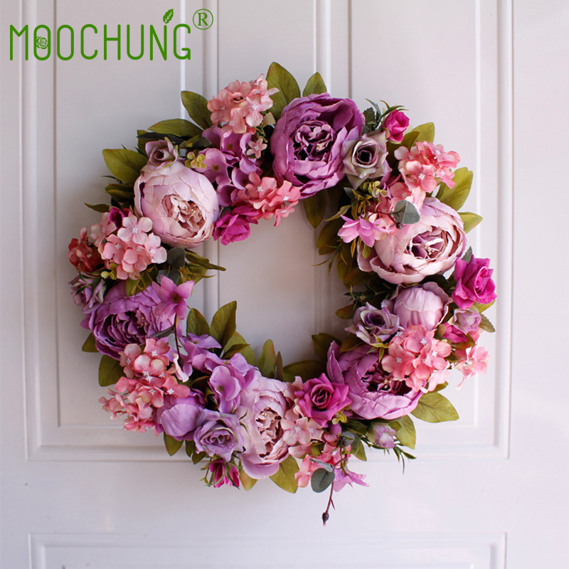40cm Purple Artificial Rose Peony Flower Wreaths Door Romantic Wedding Decorative Round Garlands For Home Party