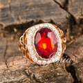 Jenia Unique Design Gold Plated Natural Imitation Ruby Stone Ring For Women XR146
