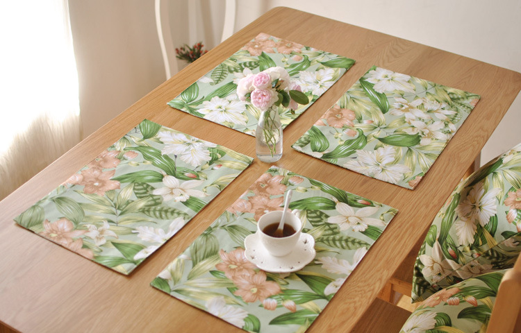 [RainLoong] Green Floral Print Table Mat Pad With Lace Thermal Insulation For Tableware Dinning Kitchen Decoration 40x30cm