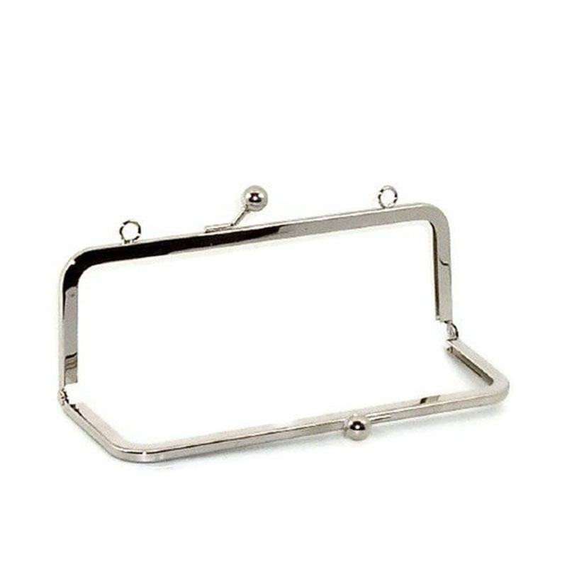 8 X3 Inch Nickel Purse Frame With Loops On Top