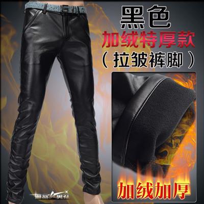 Мотоцикл Клуб Плотно Искусственной Кожаные Штаны Мужчины Горячая Мужская Мода брюки Для Мотоциклов Танцевальные Брюки Для Мужчин Hip Hop Мужчины Брюки - Цвет: black wrinkle velvet