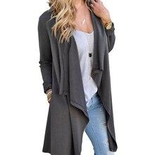 Женщины Кардиган Осень с длинным рукавом Нерегулярные длинный женский серый тонкий свитер свободные дамы пальто Тонкий элегантный верхняя одежда LJ5004C