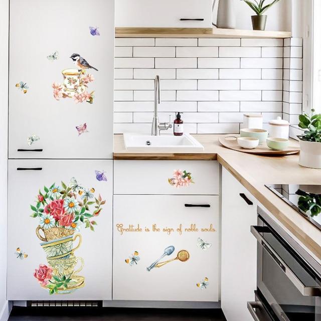 Retro Blume Vogel Tasse Wandaufkleber Kuche Kuhlschrank