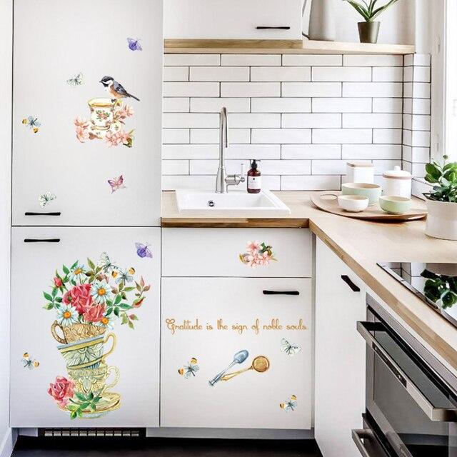 Retro Mural Bunga Cup Burung Stiker Dinding Dapur Kulkas Kupu R Mandi Decals