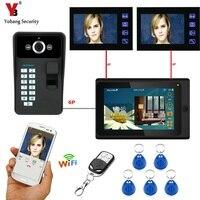 YobangSecurity 3x 7 Inch Monitor Wifi Wireless Fingerprint RFID Password Video Door Phone Doorbell Camera Intercom