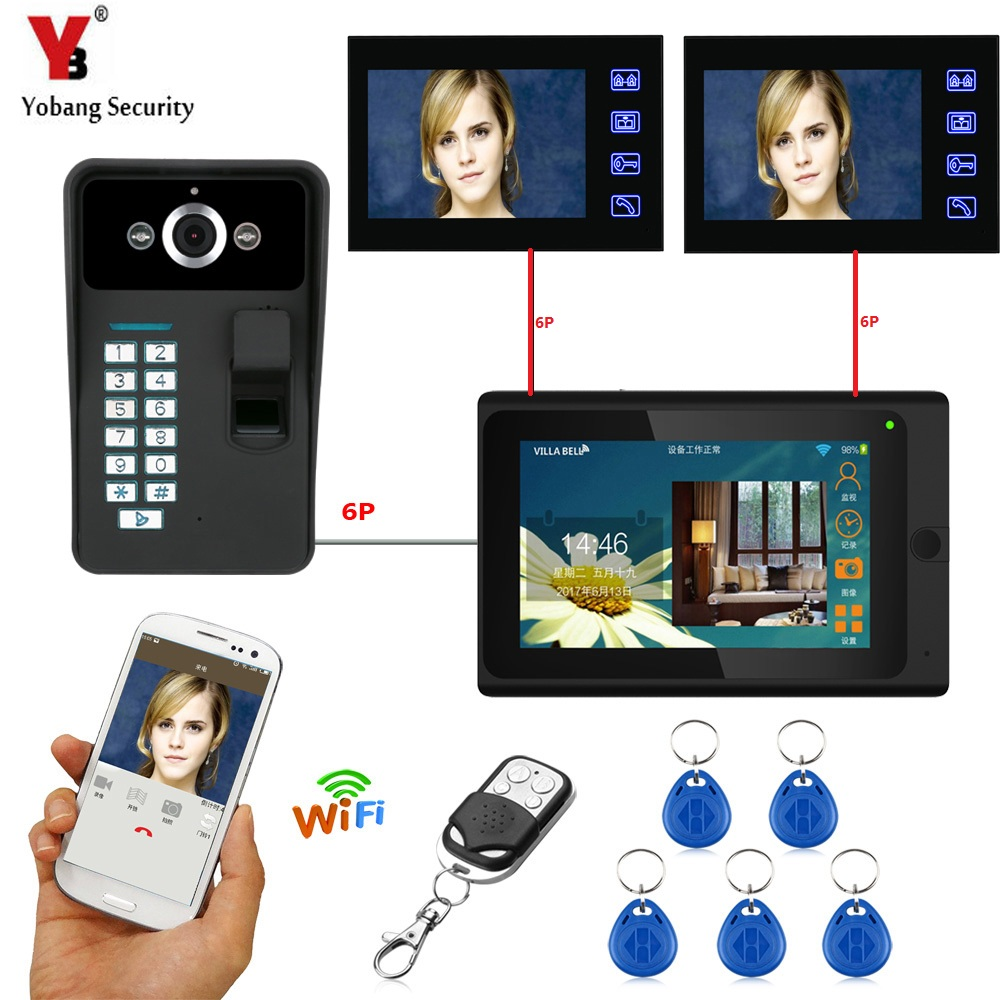 YobangSecurity 3x 7 Inch Monitor Wifi Wireless Fingerprint RFID Password Video Door Phone Doorbell Camera Intercom APP Control yobangsecurity rfid password 7 inch monitor wifi wireless video door phone doorbell video camera intercom system kit app control