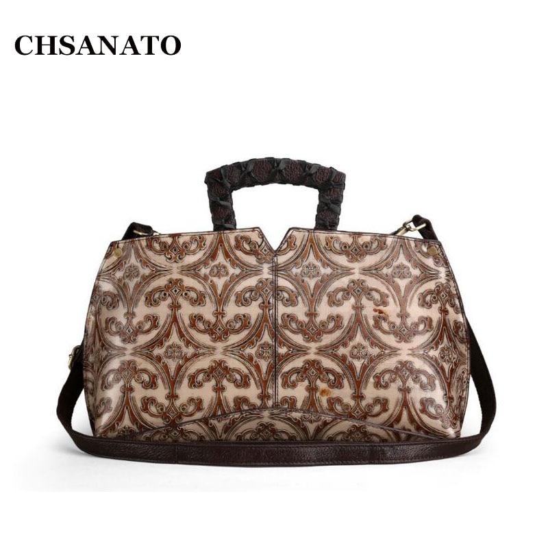 CHSANATO Design Handbags Women Fashion Tote Genuine Leather Shoulder Bags Female Elegant Floral Print Messenger simple satin and floral print design slippers for women
