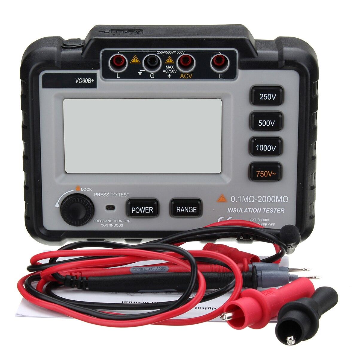 Wintalk VC60B + testeur de résistance à l'isolation numérique mètres de terre mégger megohmmètre multimètre voltmètre Portable