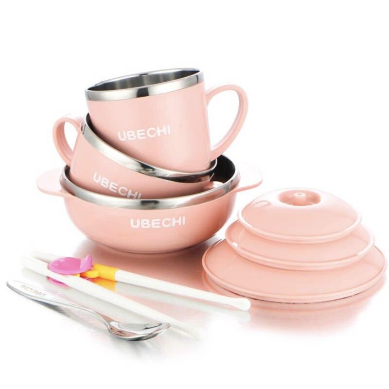 baby bowl sets 304 stainless steel baby dinnerware set 5pcs/set kids feeding