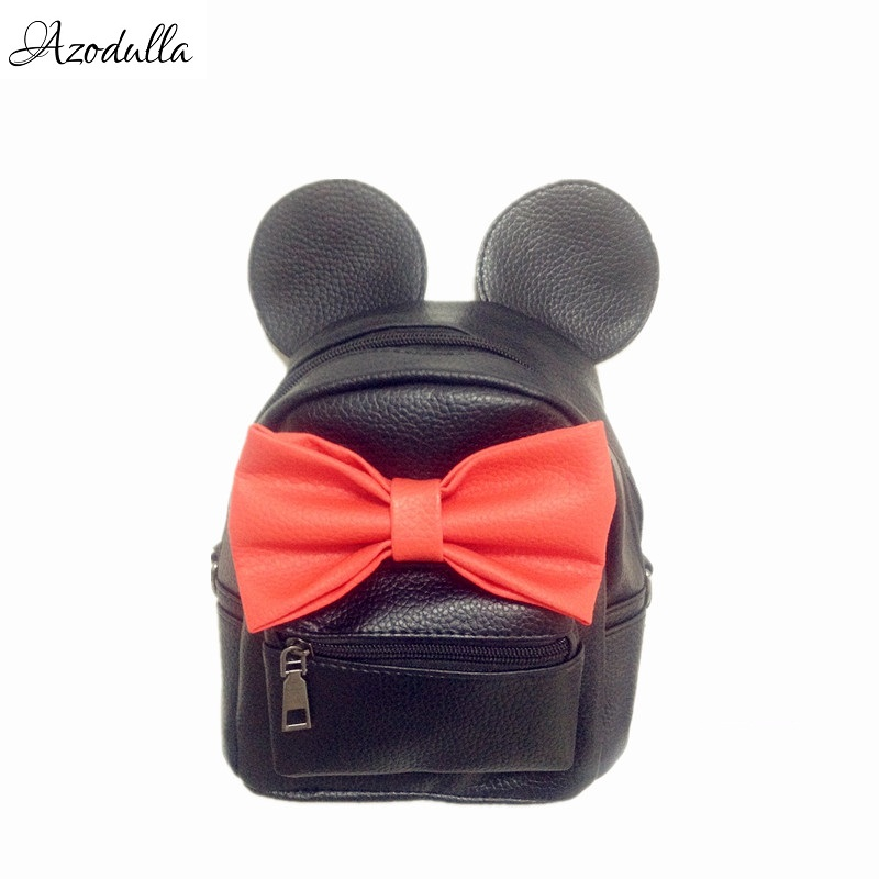 DDB04 Mickey Backpack Preppy Style Female Bag Quality PU Leather Women Mochila Mickey Mouse Ears School Bags For Teenagers Girls  pu leather vintage backpack 2016 preppy style women backpack school bags for college teenagers girls women mochila feminina