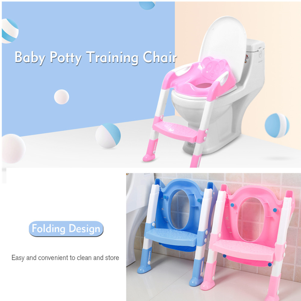 Baby Potty Toilet Training Chair Trainer Toddler Safety Seat Step With Adjustable Ladder Infant Toilet Non-Slip Foldable Seat