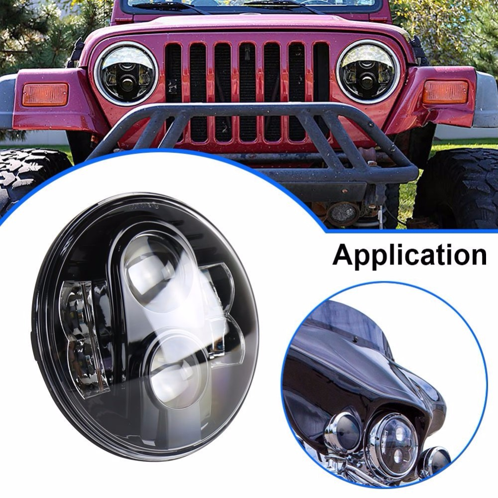 DOT 80W 7 Inch Round LED Headlight Projector Moto Headlights For Jeep JK Wrangler for Dyna Street Glide Yamah a Motorcycle|daymaker headlight - title=