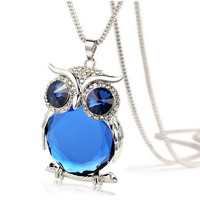4 Colors Owl Necklace Top Quality Rhinestone Crystal Pendant Necklaces Classic Animal Long Necklace Jewelry For