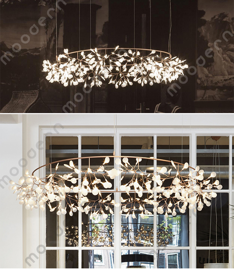 free shipping modern heracleum glowworm branch leaves chandelier