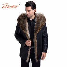 Fashion Men's Winter Natural Fur Lined Leather Jacket With Raccoon Fur Hooded Businessmen's Luxury Warm Coats Of Men Real Fur(China)