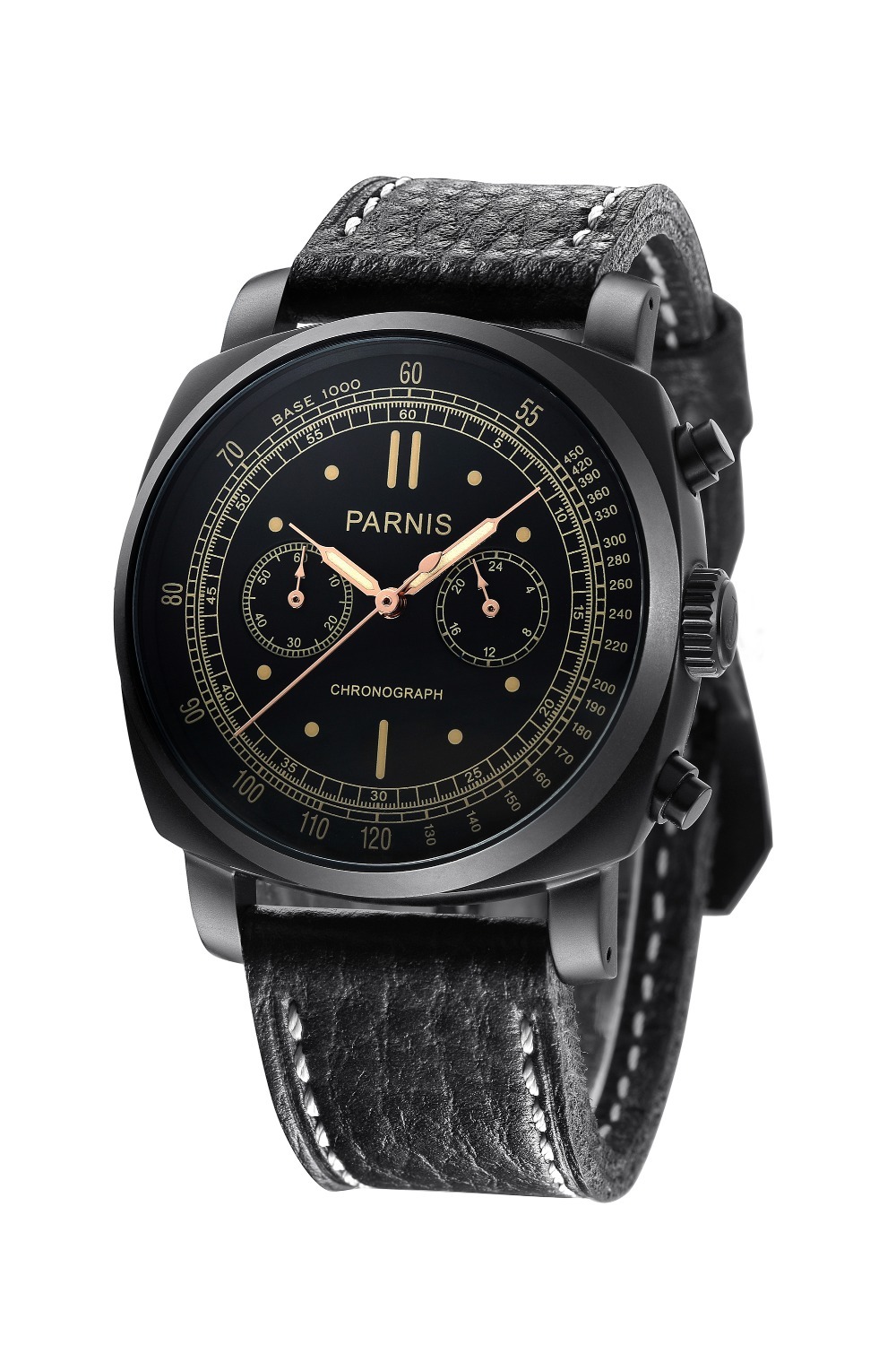 Parnis 45mm Black Dial PVD Case Chronograph Men s Watch