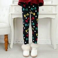 겨울 따뜻한 벨벳 다채로운 bowknot 인쇄 블랙 핑크 바디 아기 여자 레깅스 아이 어린이 90-130 센치메터