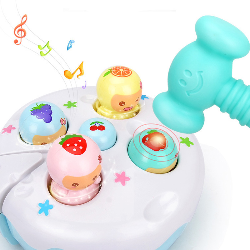 Baby Kids Plastic Music Toys Play Knock Hit Hamster Mole Insect Game Playing Fruit Cake Educational Instrumentos Musicais