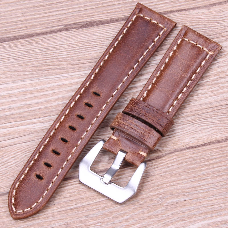 Retro Genuine Leather Watchbands Brown Men 20 22 24mm Soft Watch Band Strap Metal Pin Buckle