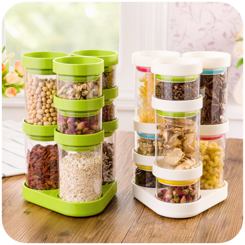 8 Pcs Set Kitchen Supplies Sealed Cans Plastic Containers For Dry Cereals Creative Rotating Storage Tank Hot