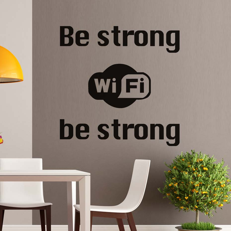 Be Strong Wifi Logo Wall Sticker Shop Window Internet Wifi Vinyl - Vinyl wall decals business