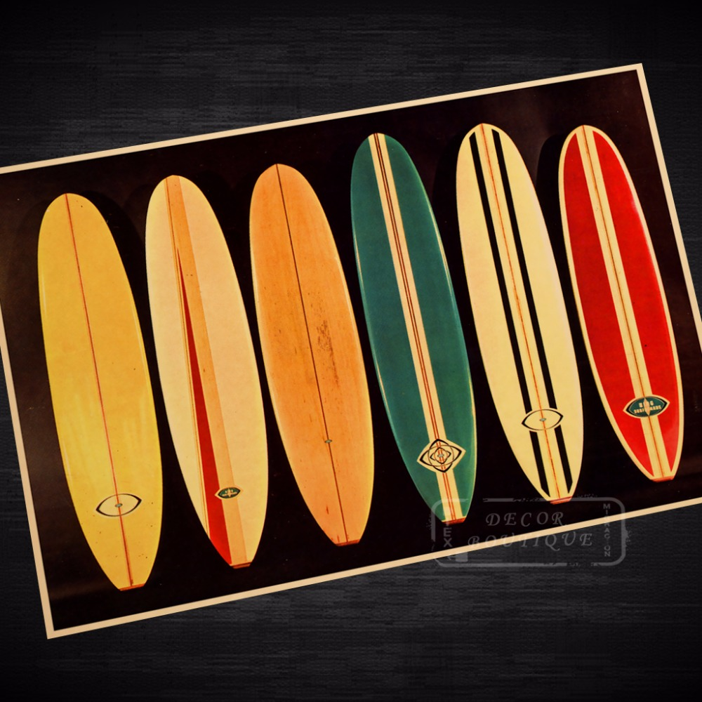 surf board presentation vintage travel surf beach poster retro canvas painting diy wall stickers. Black Bedroom Furniture Sets. Home Design Ideas
