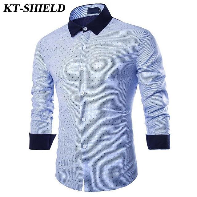 VENTA CALIENTE de Los Hombres Camisetas Casual Slim Fit de Manga Larga Camisa de Los Hombres Vestido de Polka Dot Camisa de Algodón de Alta calidad de diseñador de la marca Camisa Masculina