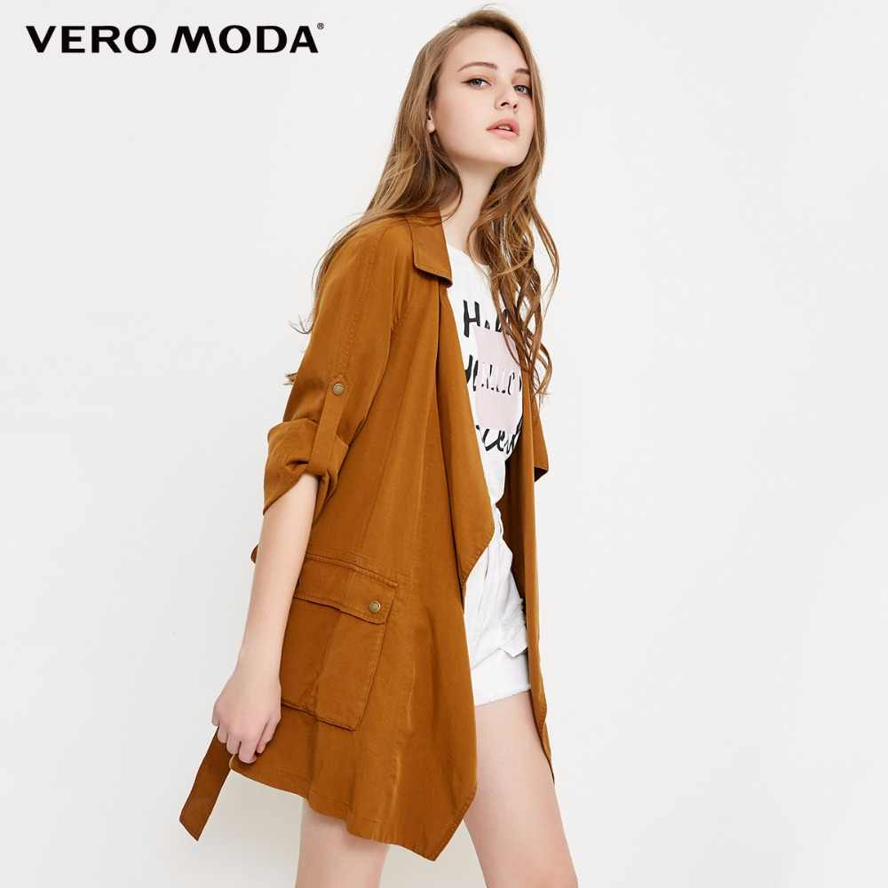Vero Moda Draped Lapel 3/4 Tie-up Coat|318117503