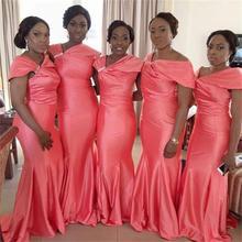 2016 Light Pink  V Neck Mermaid Bridesmaid Dresses Crystals Satin Floor-Length Vestido De Festa Robe Demoiselle D'honneur