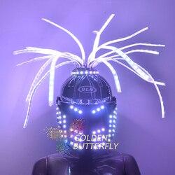 СВЕТОДИОДНЫЙ цветной яркий светильник, гарнитура, шлем с батареей, светодиодный, светящийся, вечерние, DJ наушники, робот, аксессуары для биз...