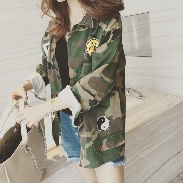 Moda Camuflagem Militar Verde Do Exército do Revestimento Das Mulheres Denim Casacos Camo jaqueta feminina Casacos