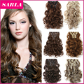 22 Colors!!! Free Shipping 50cm 20inch 7pcs/Set Curly Hair Extension Hairpiece Hair Weave Synthetic Clip In Hair Extensions 999