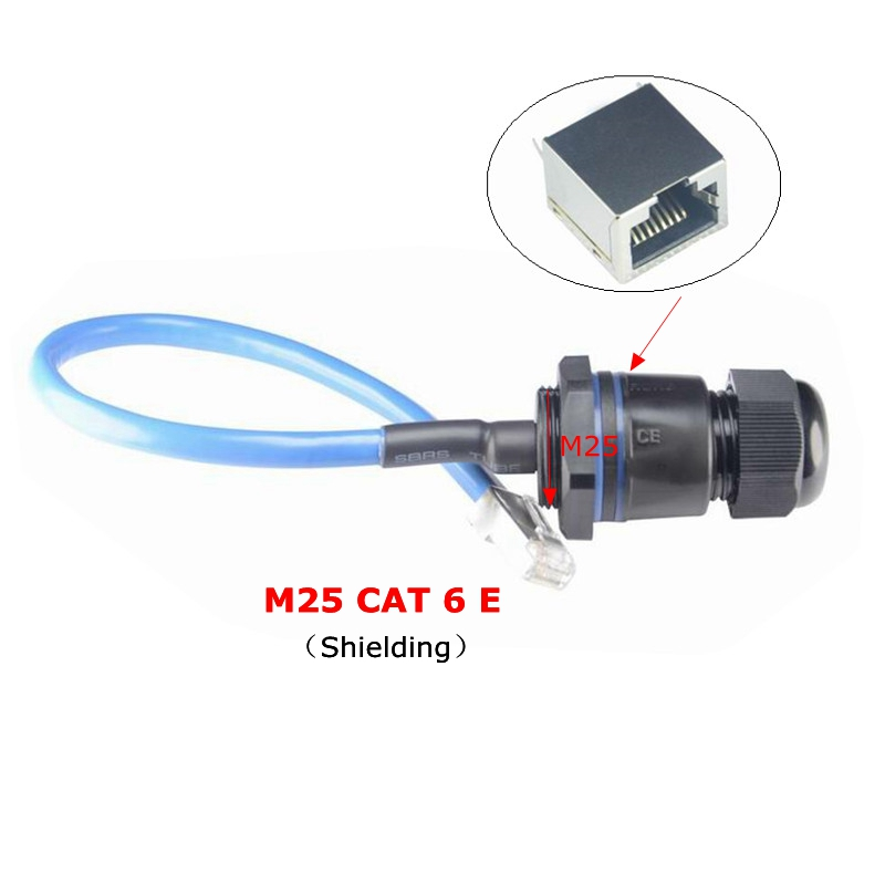CAT6E Water Proof RJ45 Connector CAT6 Gigabit Ethernet LAN RJ 45 AP Outdoor Network Bridge M25 IP 68 Waterproof Plug Cable 25cm