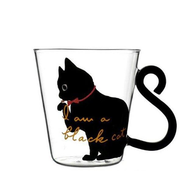 Cute Creative Cat Kitty Glass Mug Cup Tea Cup Milk Coffee Cup Cartoon Kitten /Little black cat Home Office Cup Fruit Juice 1