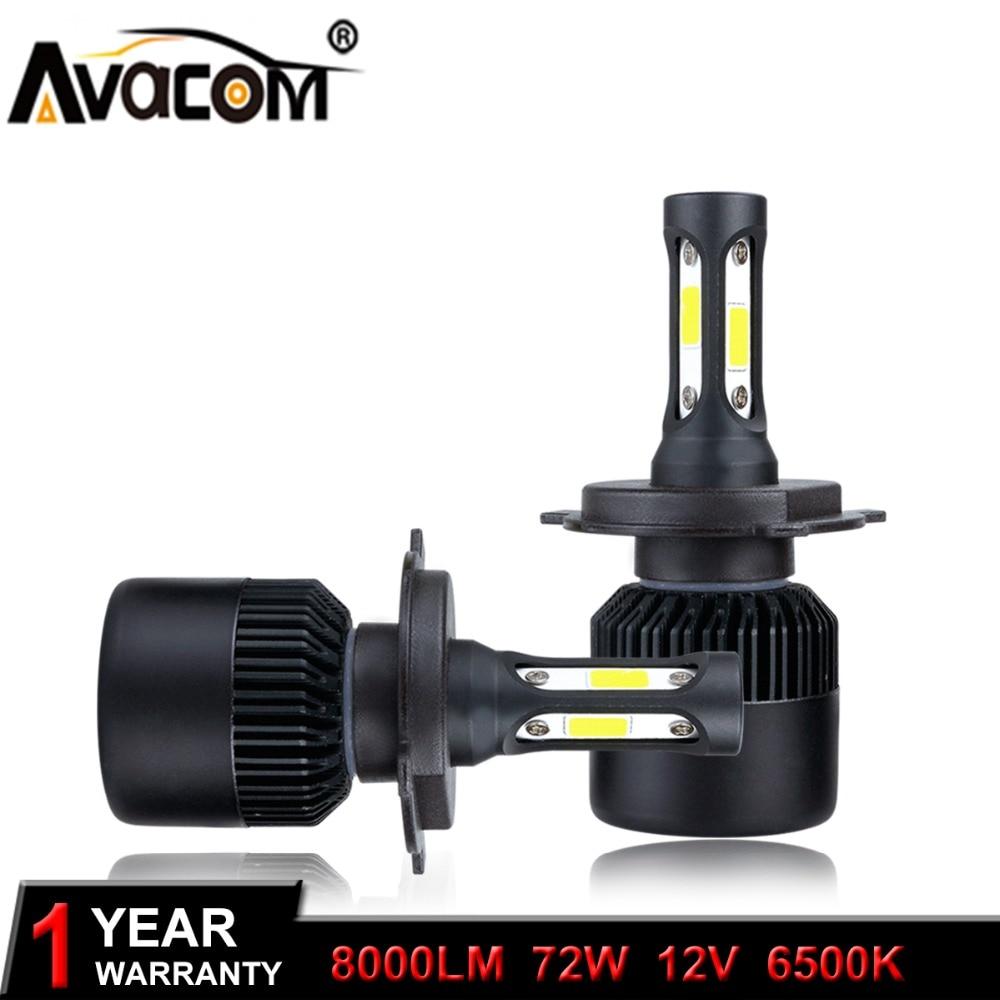H1 H3 H11 H4 LED Car Headlights Bulb 12V COB 72W 8000Lm 6500K Cold White 9005/HB3 HB4 HIR2 Auto Lamp H7 Ampoule LED Voiture