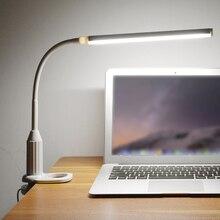 Zasilany przez USB zacisk klip lampa biurkowa lampa dotykowa kontrola czujnika elastyczna lampa biurko czytanie praca studia lampa stołowa lampka nocna