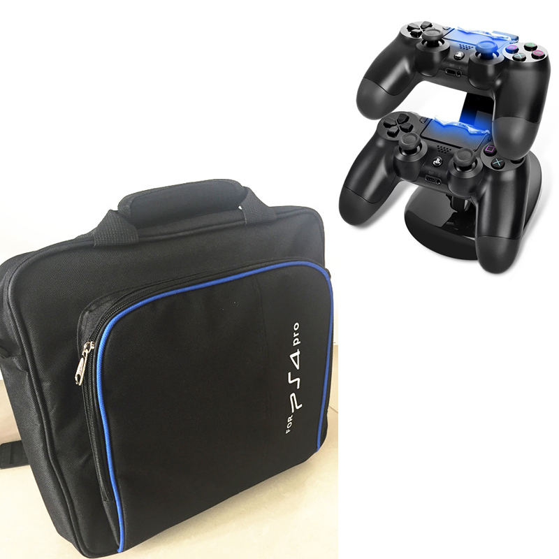 PS4 PRO carry bag storage travel protect Case Handbag Shoulder bag+Charger Dock Station Stand For Sony Playstation 4 Pro PS4 Pro