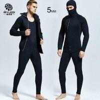 5MM diving suit, two pieces of rubber scuba diving suit waterproof and warm diving suit men