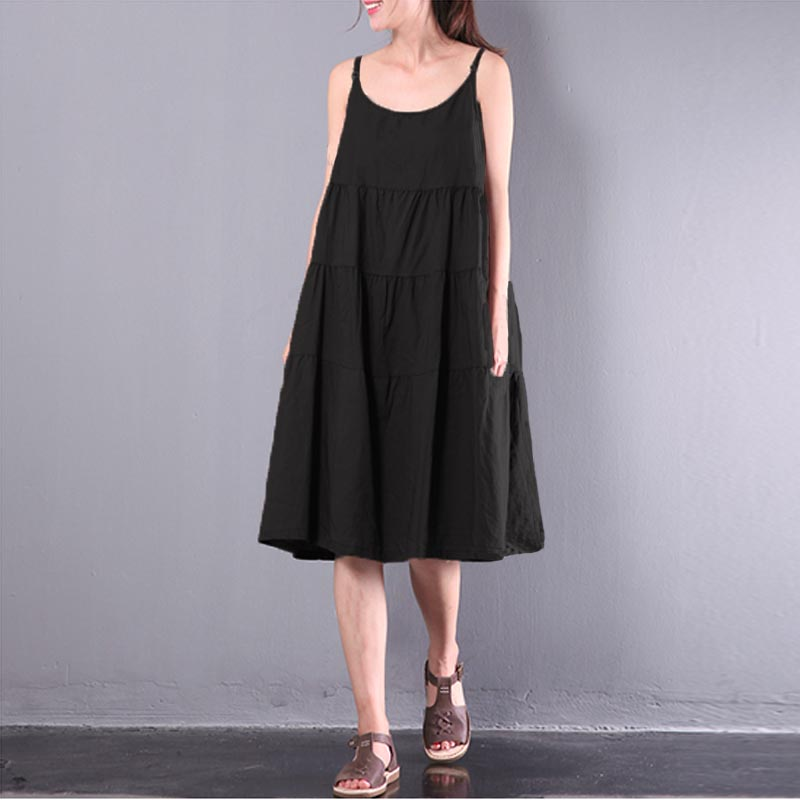 Summer Fashion ZANZEA Casual Solid O Neck Sleeveless Loose Party Midi Sundress Sexy Strappy Cotton Linen Patchwork Dungarees