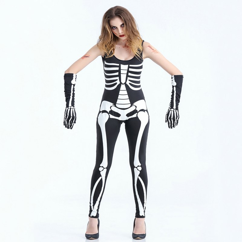 Free shipping women human Skeleton personality Halloween costume ghosts cosplay costumes stage