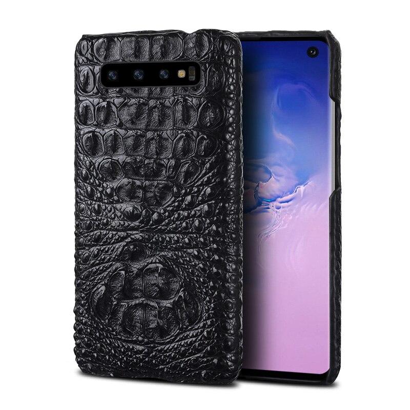 100% Véritable crocodile En Cuir Téléphone étui pour samsung Galaxy s10 S10E S9 S7 S8 Plus a50 a70 a30 a8 a7 2018 Note 10 S10E S10 Plus S8 Plus S7 Edge S9 Plus Note 10 plus 9 8 A10 A20 A40 A60 J6 J4 J7 housse de luxe