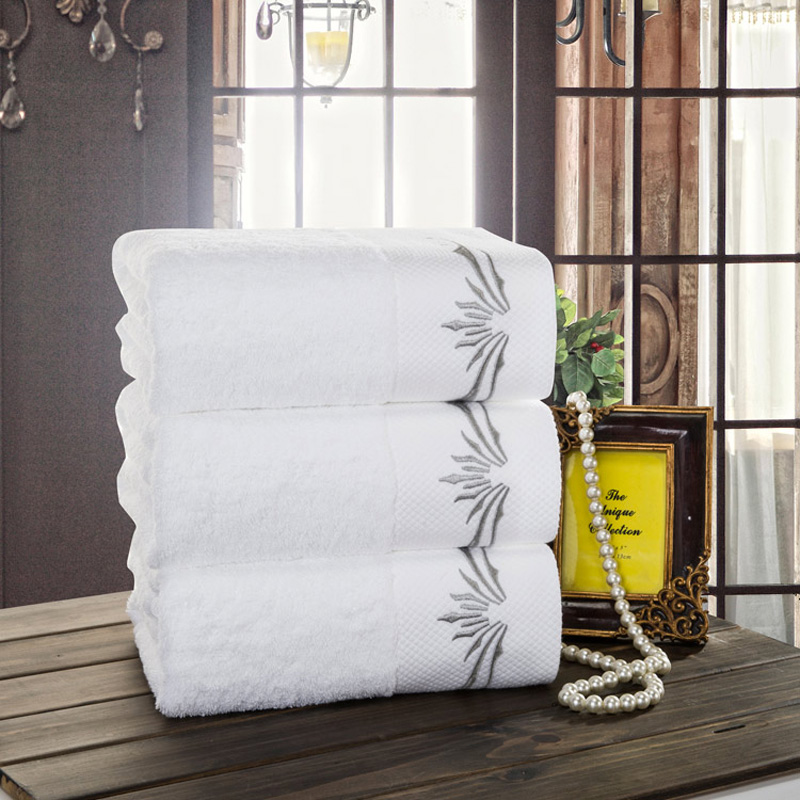 luxure cotton satin 3pcs embroidered face bath hand towel set/bamboo leaves