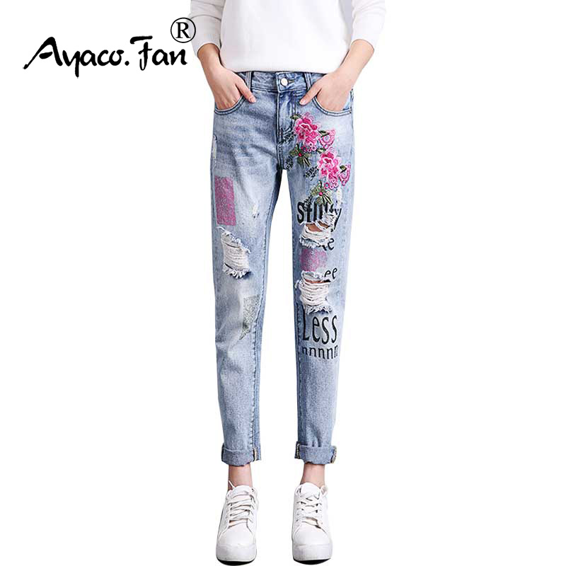 2019 Womens   Jeans   Flowers Embroidery Boyfriend Holes Ripped   Jeans   for Women Harajuku Printing Pantalon Femme Stretch Trousers