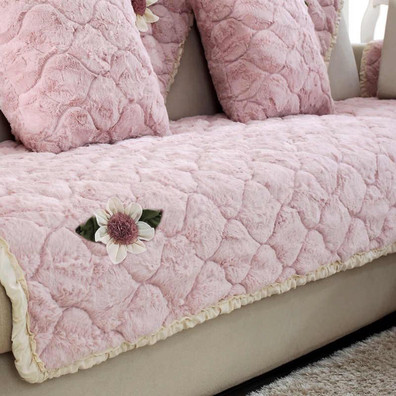 Almofadas do sofá Europeu grossas de inverno tecido de pelúcia Quatro Estações não-deslizamento simples moderna combinação de Flanela sofá toalha tampa