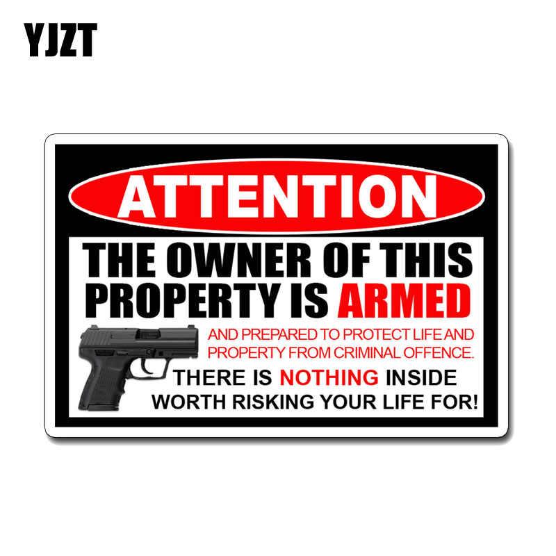 YJZT 16 6 см * 10 7 образное внимание владелец это свойство вооруженных смешные ПВХ