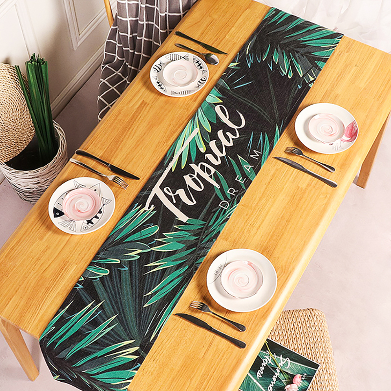 Tropical Table Runner Green Leaves Pattern Table Flag Furniture Cotton Fabric Table Cloth