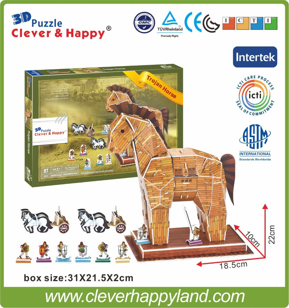 Best Selling Products Trojan Horse 3d Puzzle Model Kids Toy A840 Socket Soket Power Dc 35 Mm 13 002