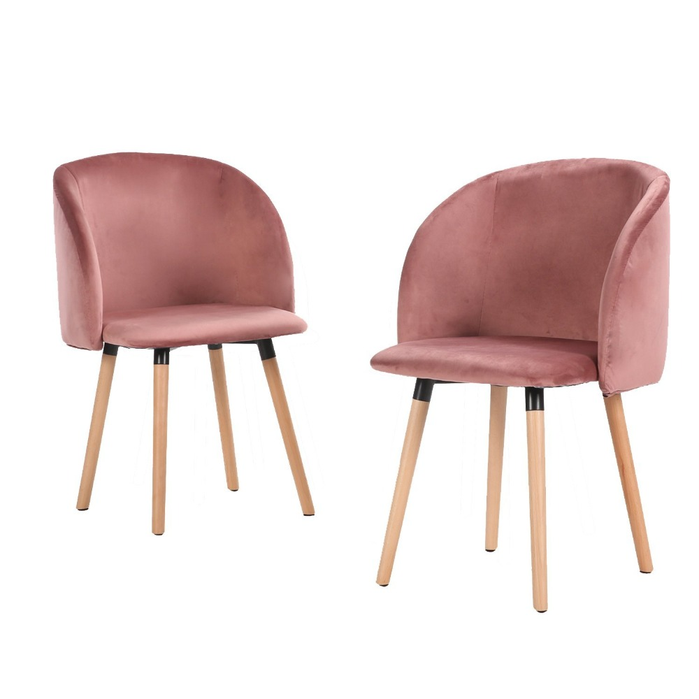 EGGREE Dining Chairs Soft Silky Velvet Seat and Wooden Legs Armchair Kitchen Chairs for Dining and Living Room Chairs Set of 2  ...